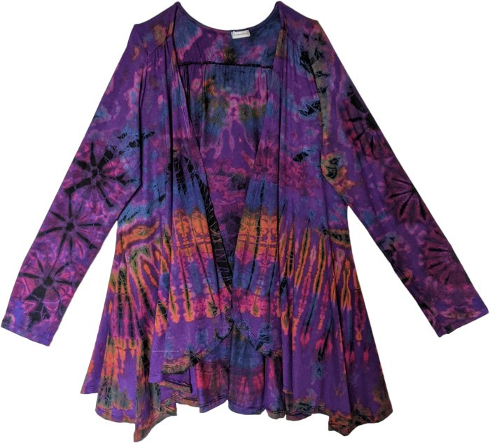Purple Nebula Stretchable Tie Dye Cardigan