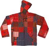 Red Hippie Patchwork Cotton Hoodie with Fleece