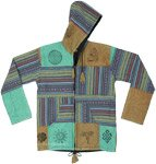 Hippie Patchwork Jacket in Soft Green Beige with Hoodie