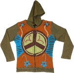 Peace and Love Fall Ribbed Knit Jacket with Embroidery