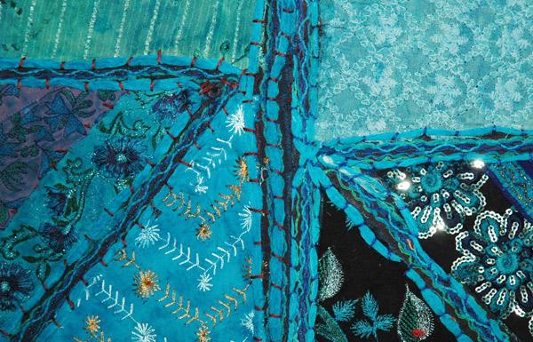 Ocean Blue Sequins Patchwork Shoulder Bag