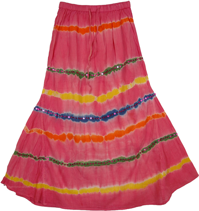 Pink Tie Dye Sequins Wide Hem Skirt, Valencia Pink Cotton Fish Cut Junior Skirt