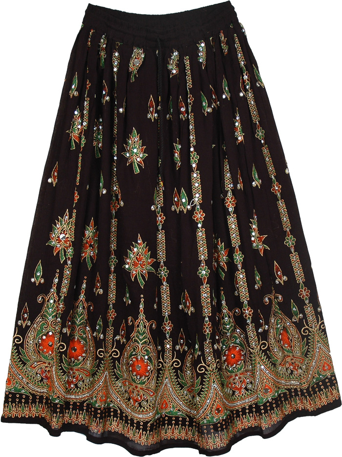 Black long rayon skirt with silver sequins, Belly Dance Orange Black Skirt