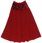 Red Wine Evening Long Skirt