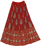 Red Punch Sequin Long Skirt