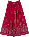 Rose Bud Cherry Sequin Long Skirt