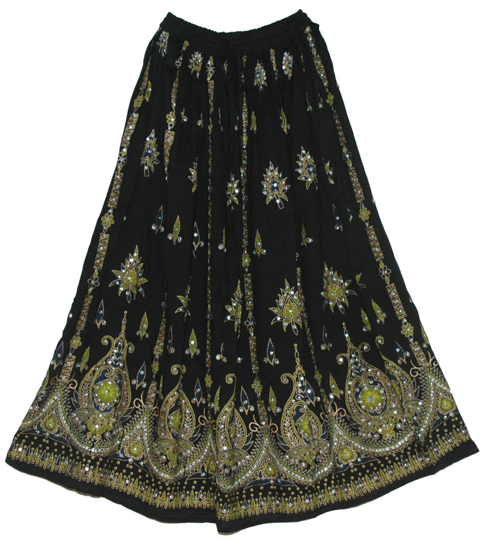 Sycamore Black Sequin Long Skirt
