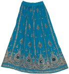 Bahama Blue Sequin Long Skirt