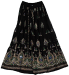 Black Pearl Sequin Long Skirt
