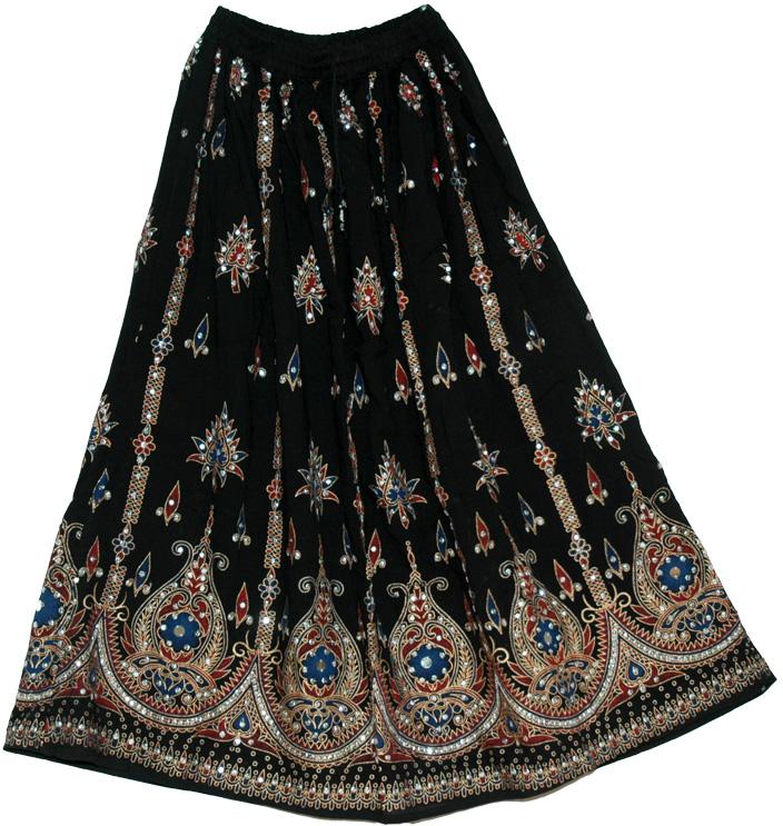 Black Sequin Design India Long Skirt - Sequin-Skirts - Sale on ...