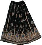 Crown Black Sequin Long Skirt