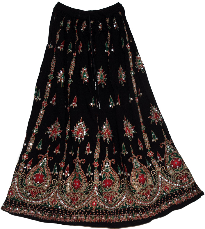 Black Sequin Design India Long Skirt Rust Green - Clearance - Sale on bags skirts jewelry at ...