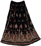 Bottle Black Sequin Long Skirt