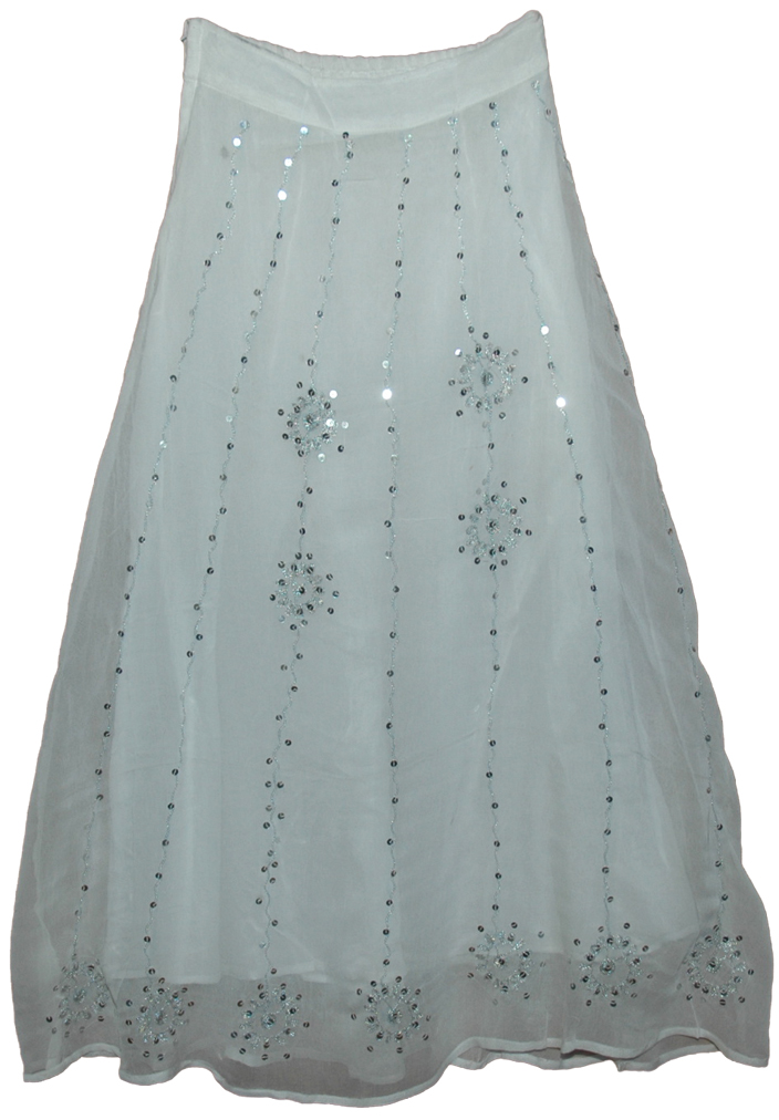 Sequined Long Lady Skirt in White - Clearance - Sale on bags ...