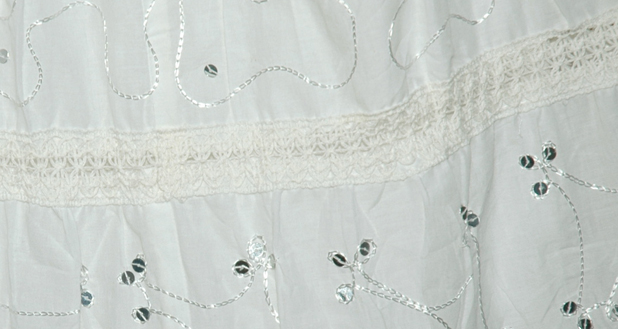 White Summer Cotton Long Sequins Laced Skirt