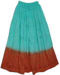 Tapas Aquamarine Brown Cotton Tie Dye Skirt