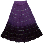 Violet Sequins Gypsy Cotton Long Skirt