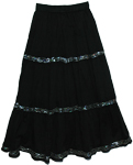 Valentino Sequins Gypsy Cotton Long Black Skirt