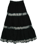 Black Boho Style Long Tie Dye Sequins Skirt