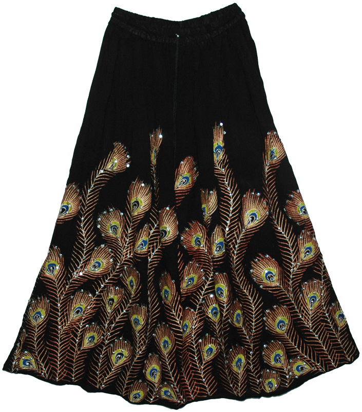 Peacock Black Sequined Indian Skirt, Peacock Pacifika Black Sequin Long Skirt