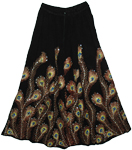 Peacock Pacifika Black Sequin Long Skirt