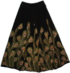 Peacock Thunderbird Sequined Black Long Skirt