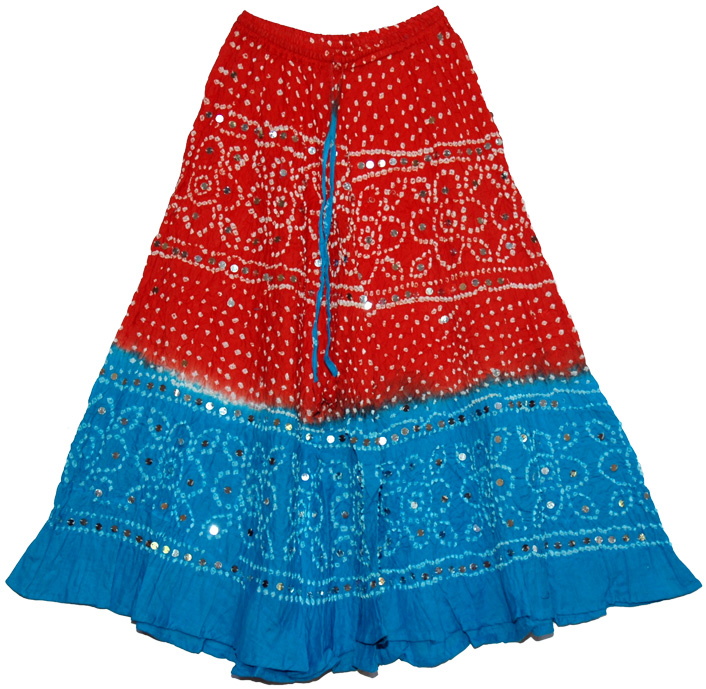 Sequined Pink Blue Tie Dye Long Skirt, Dark Pink Blue Bohemian Sequin Skirt