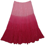 Autumn Pink Long XL Cotton Skirt