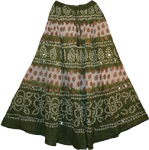 Thatch Green Bohemian Sequin Long Skirt
