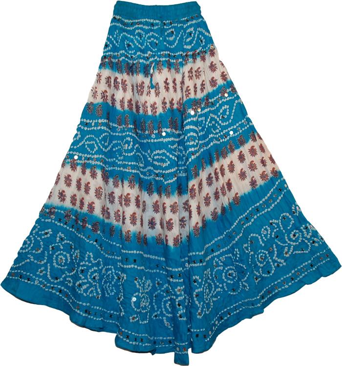 Blue Sequined Cotton Tie Dye Fashion Long Skirt, Venice Blue Bohemian Sequin Long Skirt