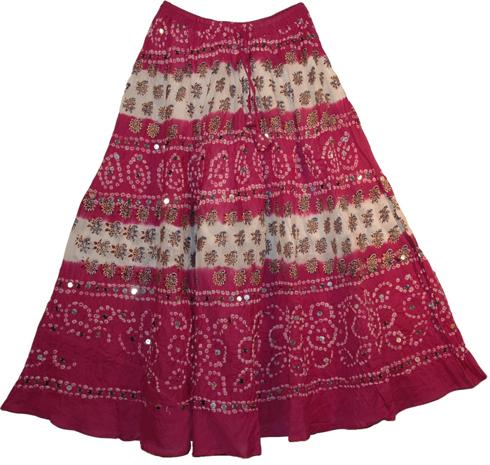 Sequined Dark Pink Cotton Tie Dye Long Skirt, Vin Rouge Bohemian Sequin Long Skirt