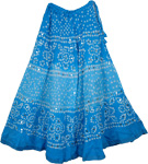 Cotton Tie Dye Long Skirt in Refreshing Blue Magic