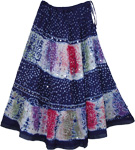 Celebration Tie Dye Long Skirt in Navy Blue