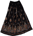 Voyager Black Sequin Long Skirt