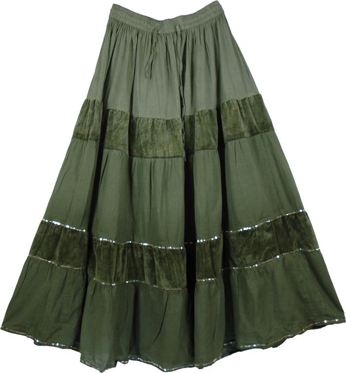 Green Long Cotton Velvet Skirt, Bridesmaids Dream Long Skirt Green
