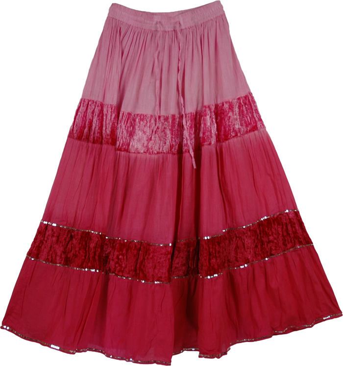 Pink Red Long Cotton Velvet Skirt, Vintage Velvet Classic Long Skirt in Pink