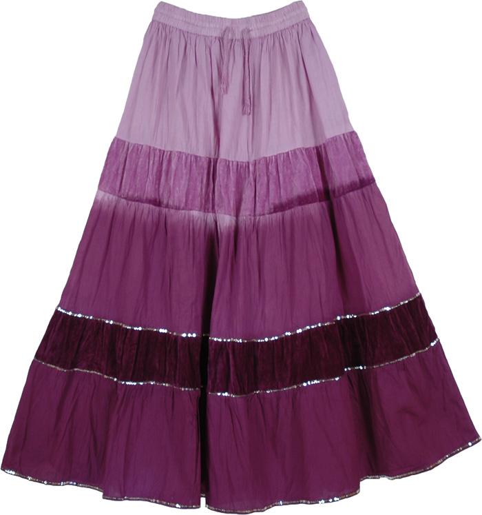 Purple Long Cotton Velvet Skirt, Vintage Velvet Purple Skirt with Sequins