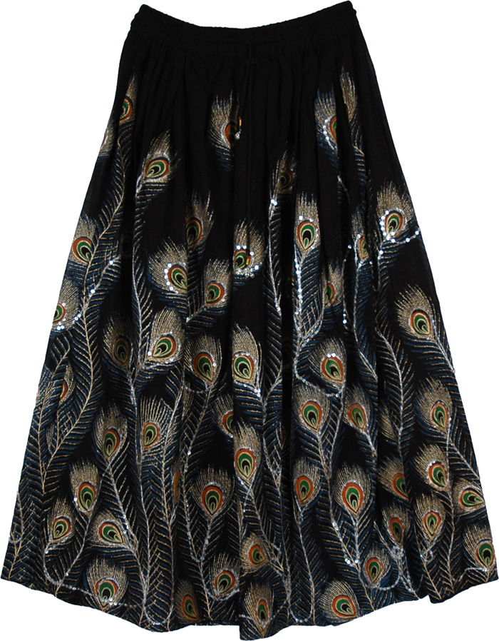 Indian Peacock Print Sequined Skirt, Peacock Horizon Sequined Black Long Skirt
