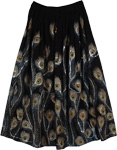 Peacock Horizon Sequined Black Long Skirt