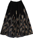 Peacock Hand Sequined Black Long Skirt