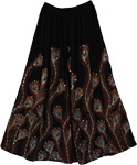 Hand Sequined Black Long Peacock Skirt