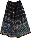 Heavenly Long Black Sequin Skirt Blue Purple