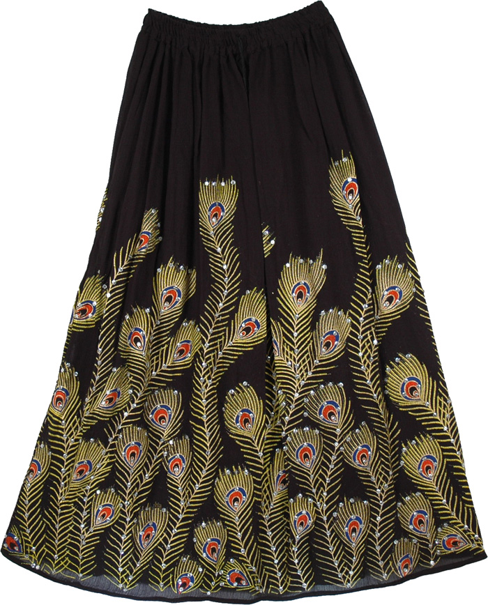 Peacock Indian Black Sequined Long Skirt, Peacock Serene Sequined Black Long Skirt