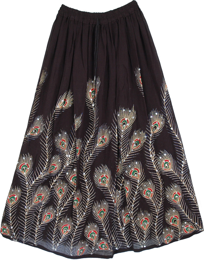 Peacock Indian Black Sequined Long Skirt, Peacock Ruby Sequined Black Long Skirt