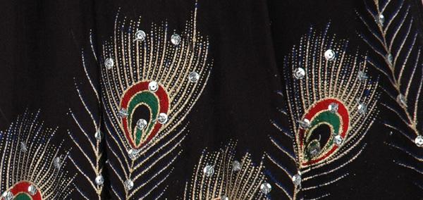 Peacock Ruby Sequined Black Long Skirt