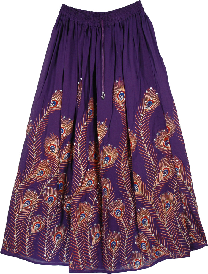 Purple Sequined Peacock Skirt, Bossanova Hippie Long Skirt