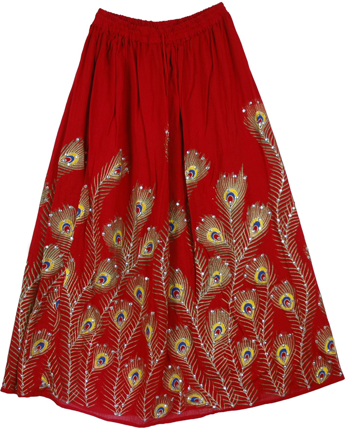 Attractive Sequin Peacock Red Long Skirt, Red Avian Gypsy Long Sequin Skirt