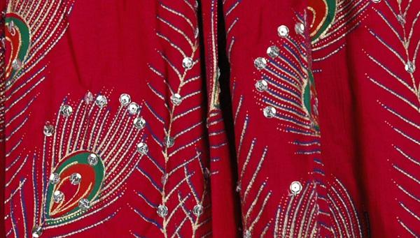 Burgundy Peacock Ethnic Long Skirt