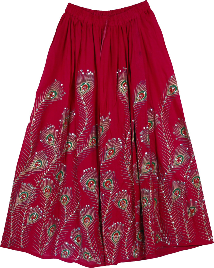 Dark Pink Peacock Sequined Indian Skirt, Dark Pink Peacock Ethnic Long Skirt