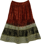 Canyon Decorated Velvet Skirt